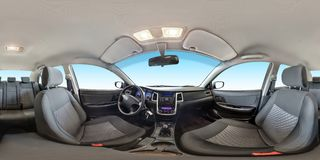 Full seamless panorama 360 degrees angle view in interior fabric salon of prestige modern car in equirectangular equidistant stock photo