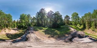 Full seamless panorama 360 by 180 degrees angle view on top ruined abandoned military fortress of the First World War in forest in royalty free stock photos