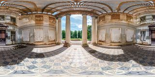 Full Seamless Spherical Hdri Panorama 360 Degrees Angle View Inside Stone Abandoned Ruined Palace Building With Columns In Royalty Free Stock Photos