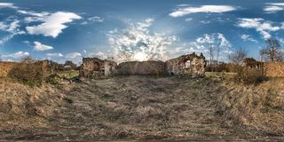 Full seamless spherical hdri panorama 360 degrees angle view inside stone abandoned ruined farm building in equirectangular royalty free stock photo