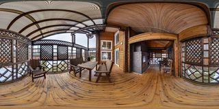 Full seamless spherical panorama 360 degrees angle view in interior empty hall veranda in wooden village vacation home in royalty free stock photography