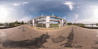 Full seamless spherical panorama 360 degrees angle view near dam of hydroelectric power station in equirectangular equidistant royalty free stock photography