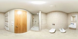 Full seamless spherical panorama 360 degrees view in modern white empty restroom bathroom with shower cabin in equirectangular royalty free stock images