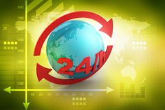 24/7 full service assistance concept. In color background Royalty Free Stock Images
