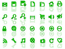 Full set of 3d web icons. Full set of 3d green web icons with reflection Stock Image