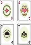 Full set of aces of playing cards Stock Photo