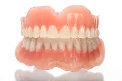 Full set of acrylic denture. Isolated on white background royalty free stock image