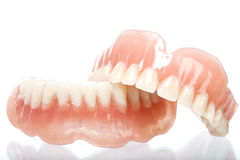 Full set of acrylic denture Stock Photos