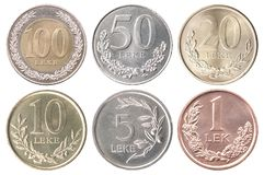 Coin Albanian Lek. Full set of Albanian coins isolated on white background stock photos