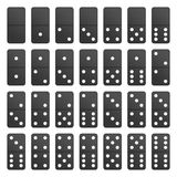 Full set black domino pieces. Full Set black domino pieces in realistic style. Dominoes bones complete set isolated on white background. Top view. Vector Stock Photography
