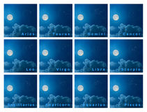 Full set of design zodiac constellations with full moon in the n Stock Images