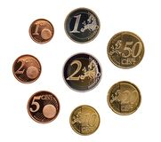 Full set of euro coins europe germany isolated on whtie background stock photo