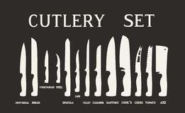 Full Set flat icons of kitchen knives with signature names. Vector isolated on white background. Royalty Free Stock Photos