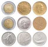 Full set of italian coins royalty free stock images