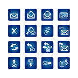 Full set of mail icons. On the blue background Royalty Free Stock Photo