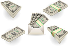 Full set of one dollar banknotes Stock Photo