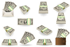 Full set of one dollar banknotes. Detailed illustration of a full set of one dollar banknotes Royalty Free Stock Photography