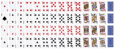 Full set of playing cards isolated on white