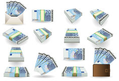 Full set of twenty euros banknotes Royalty Free Stock Photo