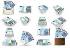 Full set of twenty euros banknotes Royalty Free Stock Photo