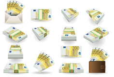 Full set of two hundred euros banknotes. Detailed animation of a full set of two hundred euros banknotes Stock Photography