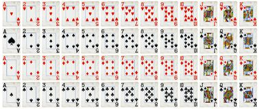 Full set of Vintage playing cards isolated on white background