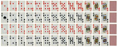 Full set of Vintage playing cards isolated on white