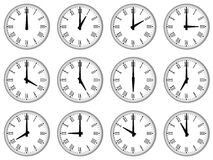 A full set of wall clocks Stock Photography