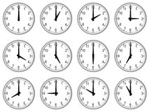 A full set of wall clocks Royalty Free Stock Images