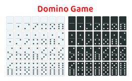 Full set of white and black dominoes  on white. Complete double-six set. Flat illustration. Royalty Free Stock Image