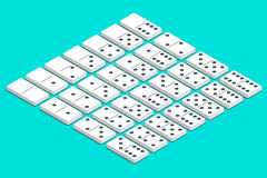 Full set of white isometric dominoes. Complete double-six set Stock Images