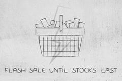 Full shopping basket with lightning bolt overlay, flash sale Royalty Free Stock Image