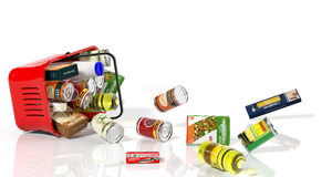 Full shopping basket with products Stock Photography