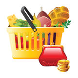 Full shopping basket and wallet Royalty Free Stock Image