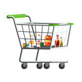 Full shopping trolley cart. With fresh grocery products vector illustration Stock Photography