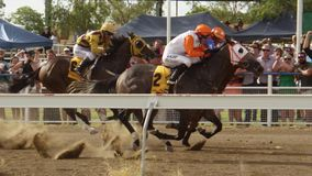 Horse racing and crowd in slow motion