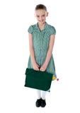 Full shot portrait of smiling school girl Stock Photo