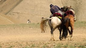 Two men playing buzkashi. A full shot of two men playing buzkashi. They are pulling a black goat stock footage
