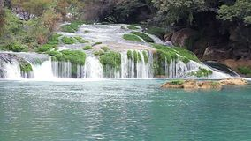 Full shot of the waterfalls of Micos in the Huasteca. Full shot of the waterfalls of Micos in the Huasteca, San Luis Potosi, Mexico stock video footage