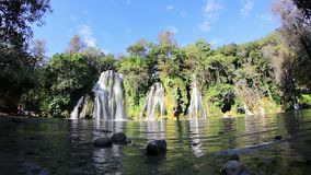 Full shot of the waterfalls of Tamasopo. Full shot of the waterfalls of Tamasopo in the Huasteca, San Luis Potosi, Mexico stock footage