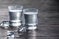 Full shots of vodka. Close-up shot of two glass shots with vodka and ice Stock Photography