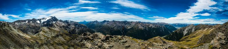 Fiordland Alpine Panorama. The full sight of the souther alps is impossible to get, but you can get a taste royalty free stock photo