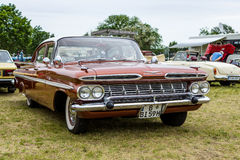 Full-size car Chevrolet Bel Air 4-Door Sedan, 1959. PAAREN IM GLIEN, GERMANY - JUNE 03, 2017: Full-size car Chevrolet Bel Air 4-Door Sedan, 1959. Exhibition ` Royalty Free Stock Images