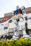 Full size Gundam. Tokyo, Japan - April 8, 2016: Giant replica Gundam Performances at DiverCity Tokyo Plaza, Odaiba, Tokyo, Japan. It is 18m tall The sculpture Royalty Free Stock Photo