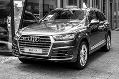 Full-size luxury crossover SUV Audi SQ7 TDI, produced since 2016. Black and white. Royalty Free Stock Photo