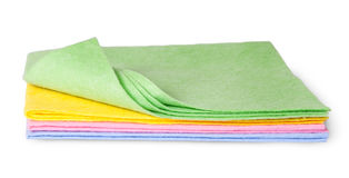 Full size multicolored cleaning cloths one folded Royalty Free Stock Photo