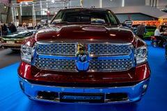 Full-size pickup truck Dodge Ram 1500 Laramie Crew CAB, 2017. STUTTGART, GERMANY - MARCH 03, 2017: Full-size pickup truck Dodge Ram 1500 Laramie Crew CAB, 2017 royalty free stock image