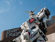 Full-size of RX-0 Unicorn Gundam at Diver City Tokyo Plaza in Od royalty free stock photo