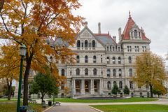 State Capitol Building Statehouse Albany New York Lawn Landscaping stock photos