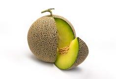 Full and Slice of Fresh cantaloupe melon isolated on white background. Sweet fruit Royalty Free Stock Images